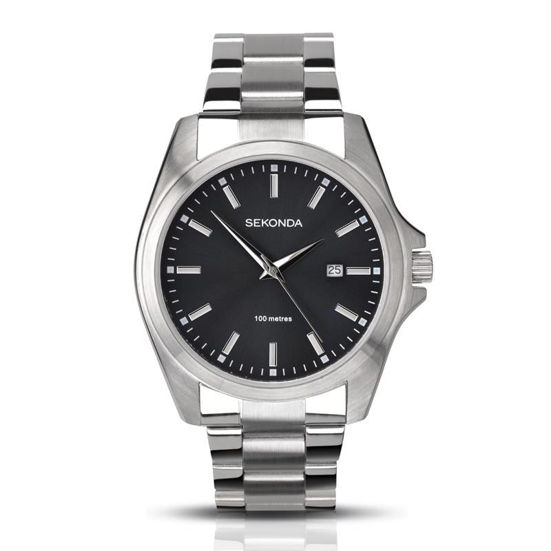 Sekonda Black Dial Silver Bracelet Watch