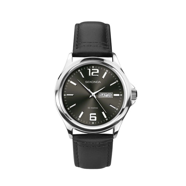 Sekonda Silver Case Grey Dial Black Strap Watch