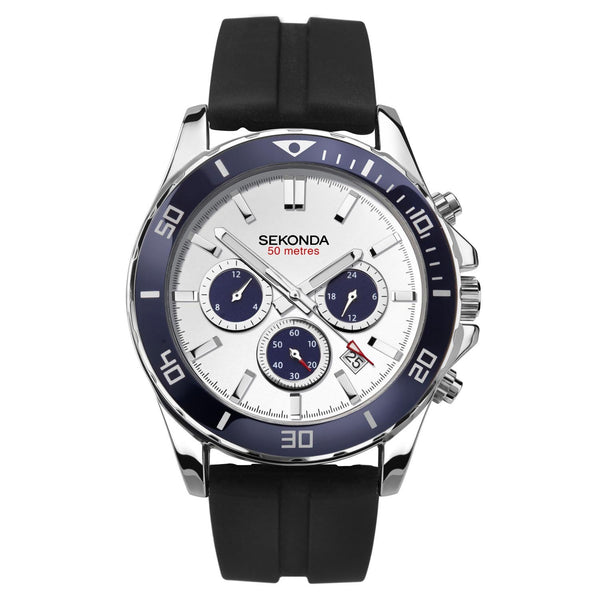 Sekonda Silver Case Navy Top Ring White Dial Watch