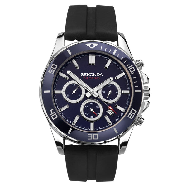 Sekonda Silver Case Navy Top Ring Navy Dial Watch