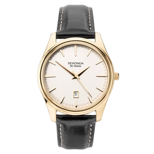 Sekonda Gold Case White Dial Black Leather Strap Watch