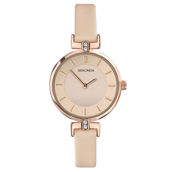 Sekonda Rose Gold Plate Case Rose Dial Rose Coloured Strap Watch