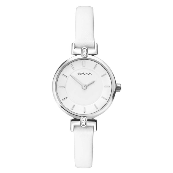 Sekonda Silver Case White Dial White Strap Watch
