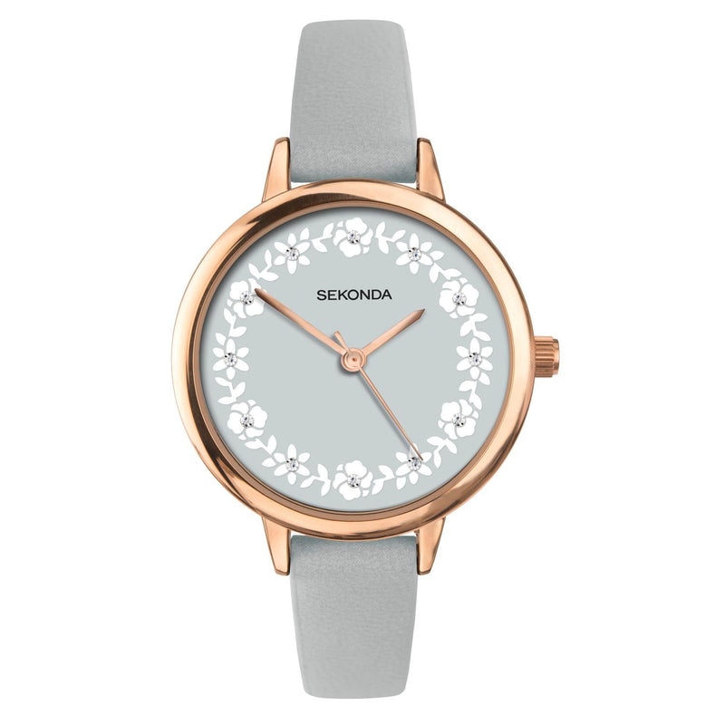 Sekonda Rose Gold Plate  Case Grey Floral Dial  With  Stones Watch