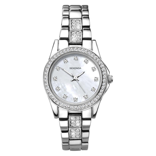 Sekonda White Mother Of Pearl Dial Silver Bracelet Stone Set Watch