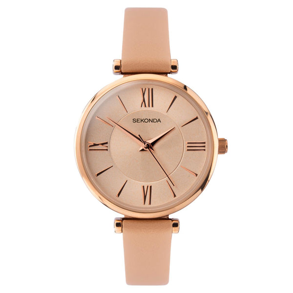 Sekonda Rose Gold Case Nude Dial Nude Strap Watch