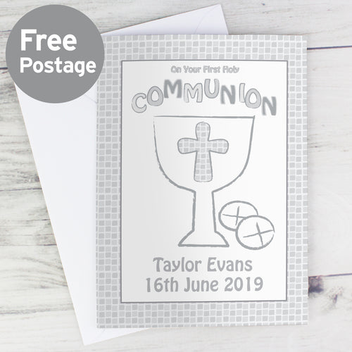 Personalised First Holy Communion Card Grey