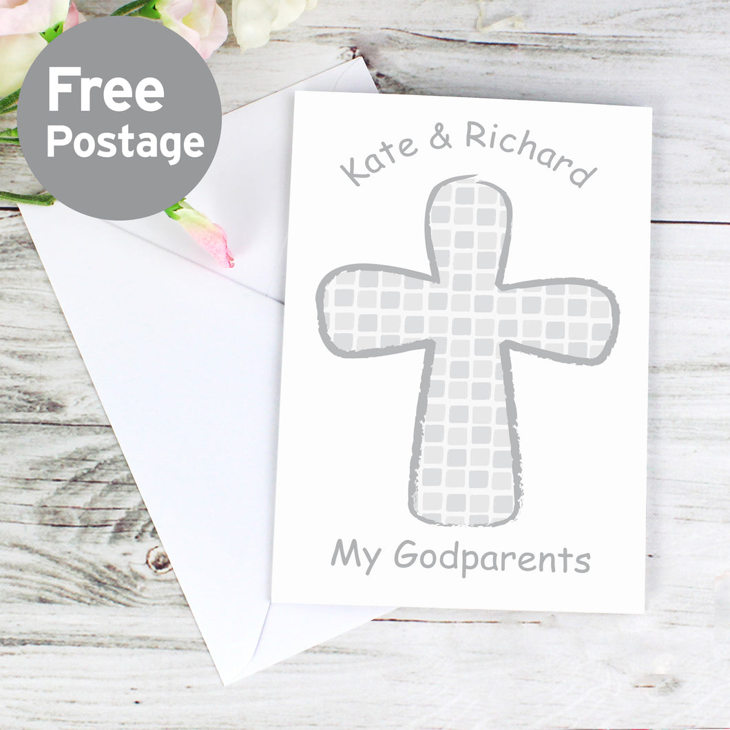 Personalised Grey Godparent Card