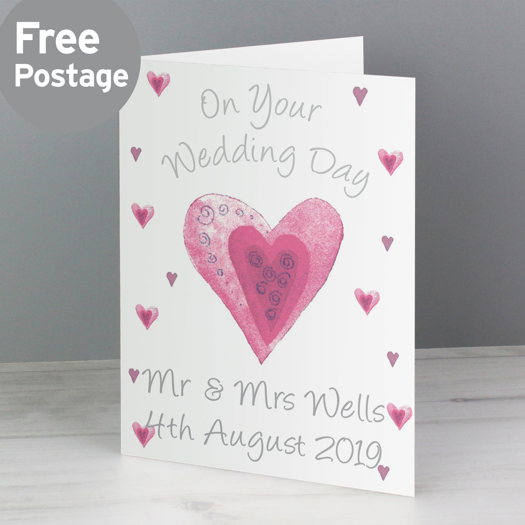 Personalised On Your Wedding Day Pink Heart Card