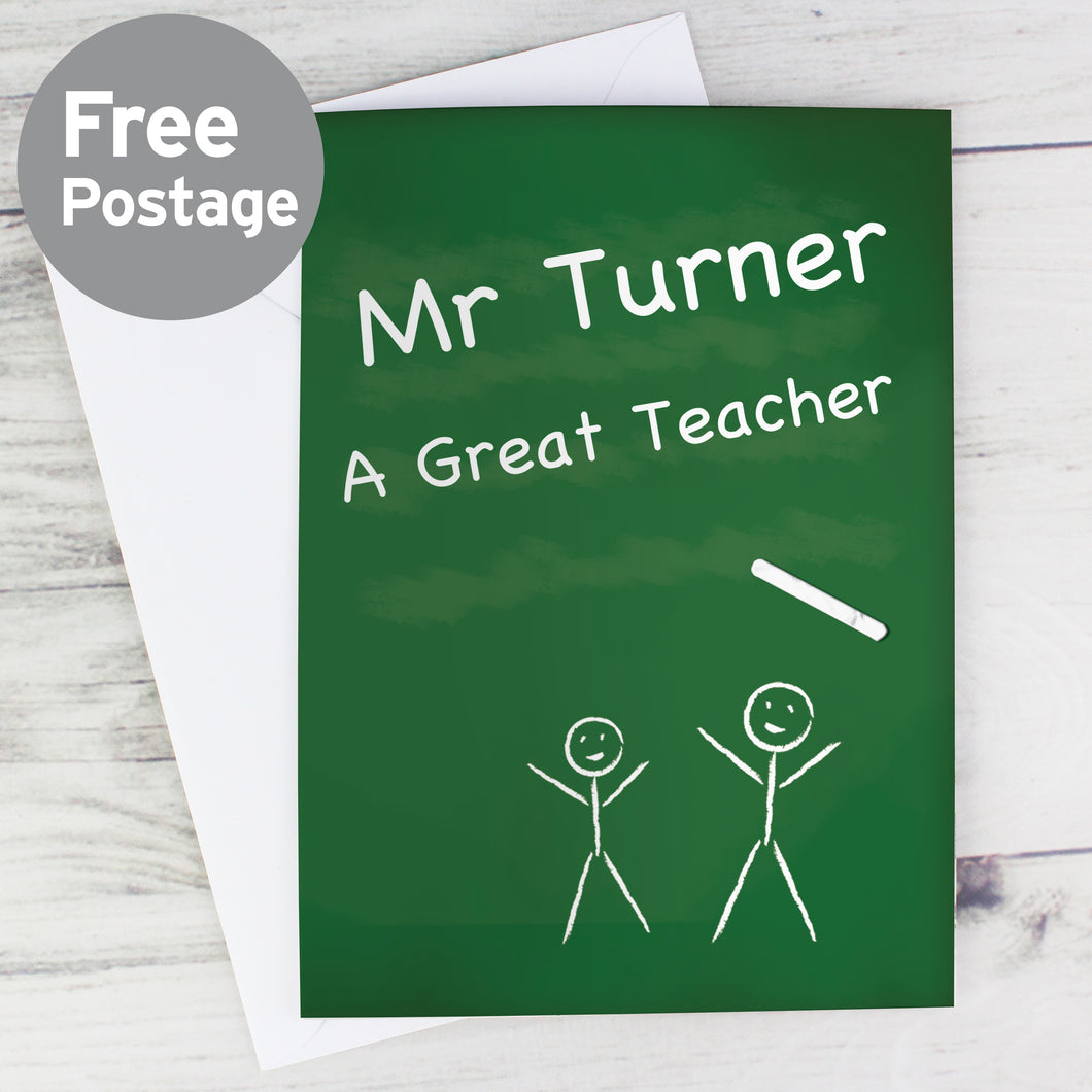 Personalised Teachers Pet Chalk Board Card