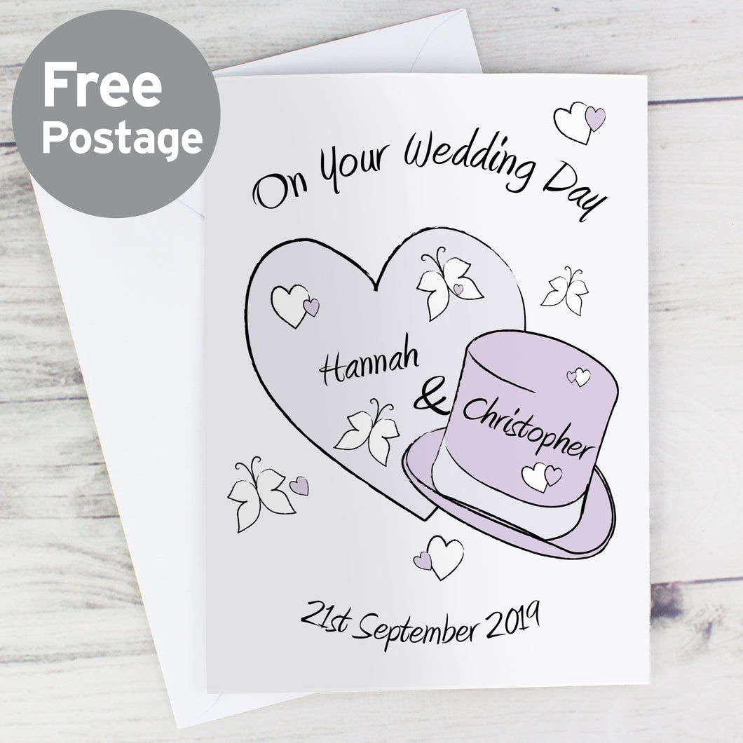 Personalised Heart and Hat Card Butterfly