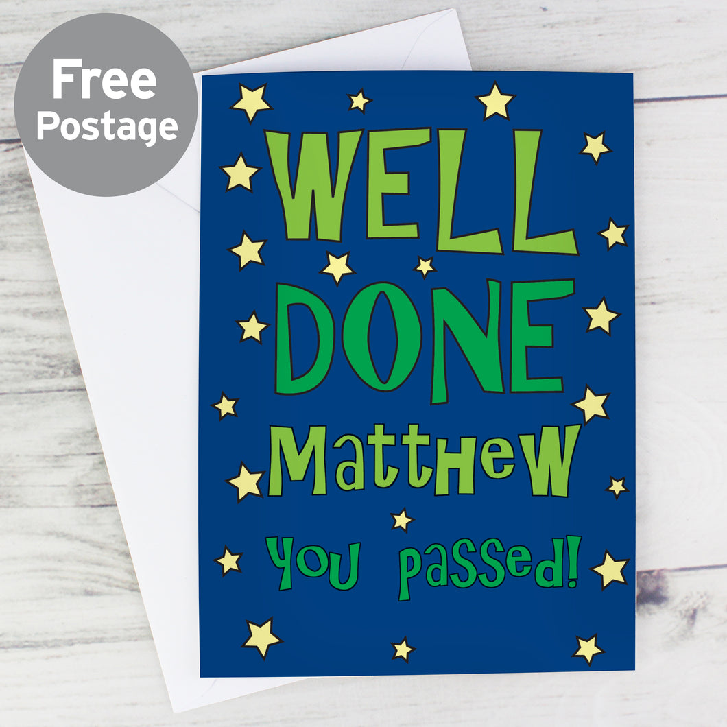 Personalised Well Done Green Star Card
