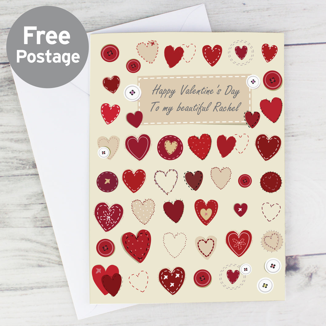 Personalised Fabric Hearts Design Card