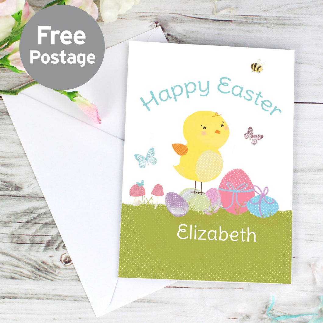 Personalised Easter Meadow Chick Card