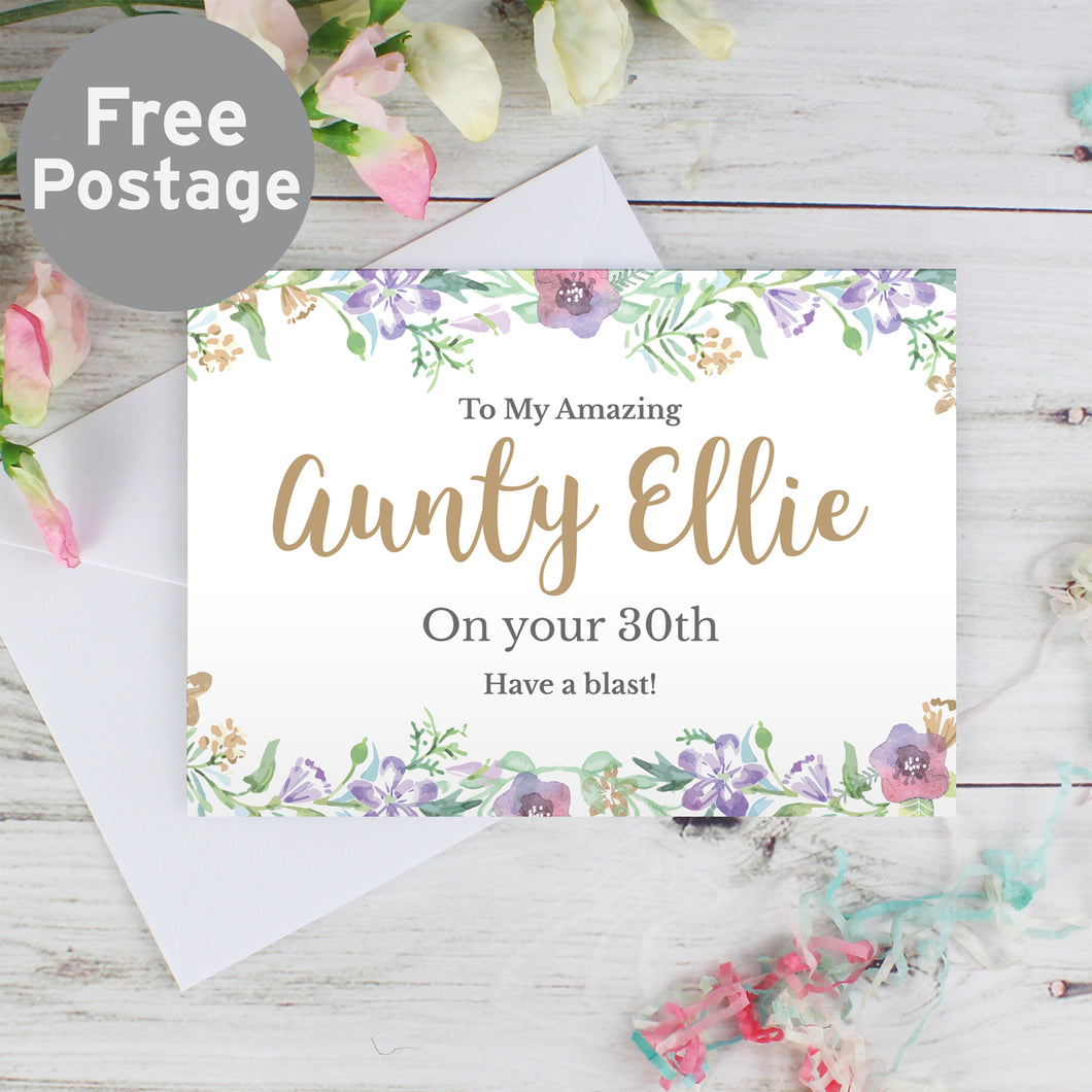 Personalised Gold Floral Watercolour Card