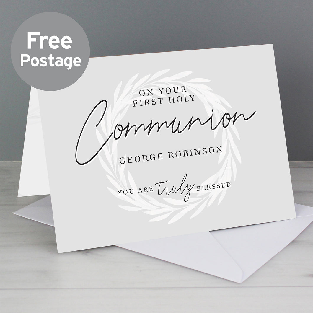 Personalised Truly Blessed First Holy Communion Card