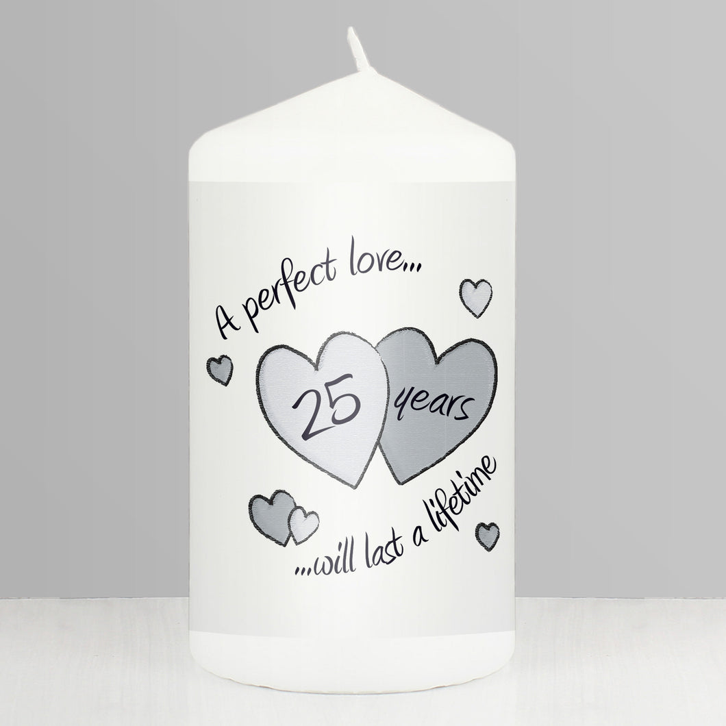 Perfect Love Silver Anniversary Candle