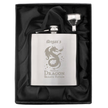 Load image into Gallery viewer, Personalised Dragon Breath Potion Hip Flask Gift Boxed - Halloween Gift