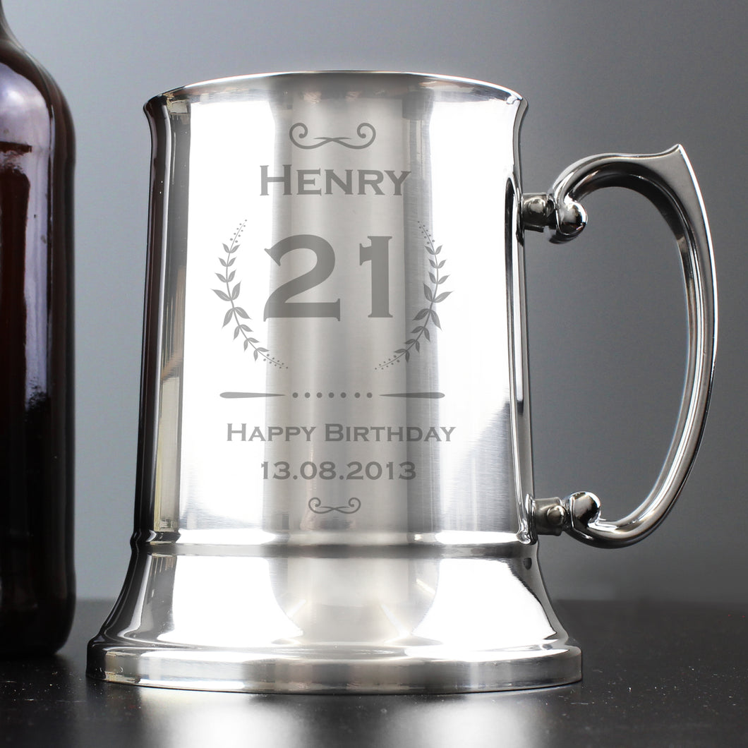 Personalised Age Crest Stainless Steel Tankard