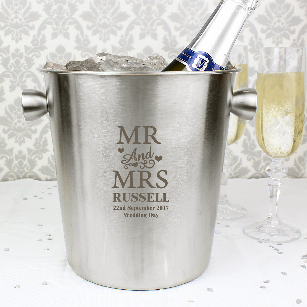 Personalised Mr & Mrs Stainless Steel Ice Bucket