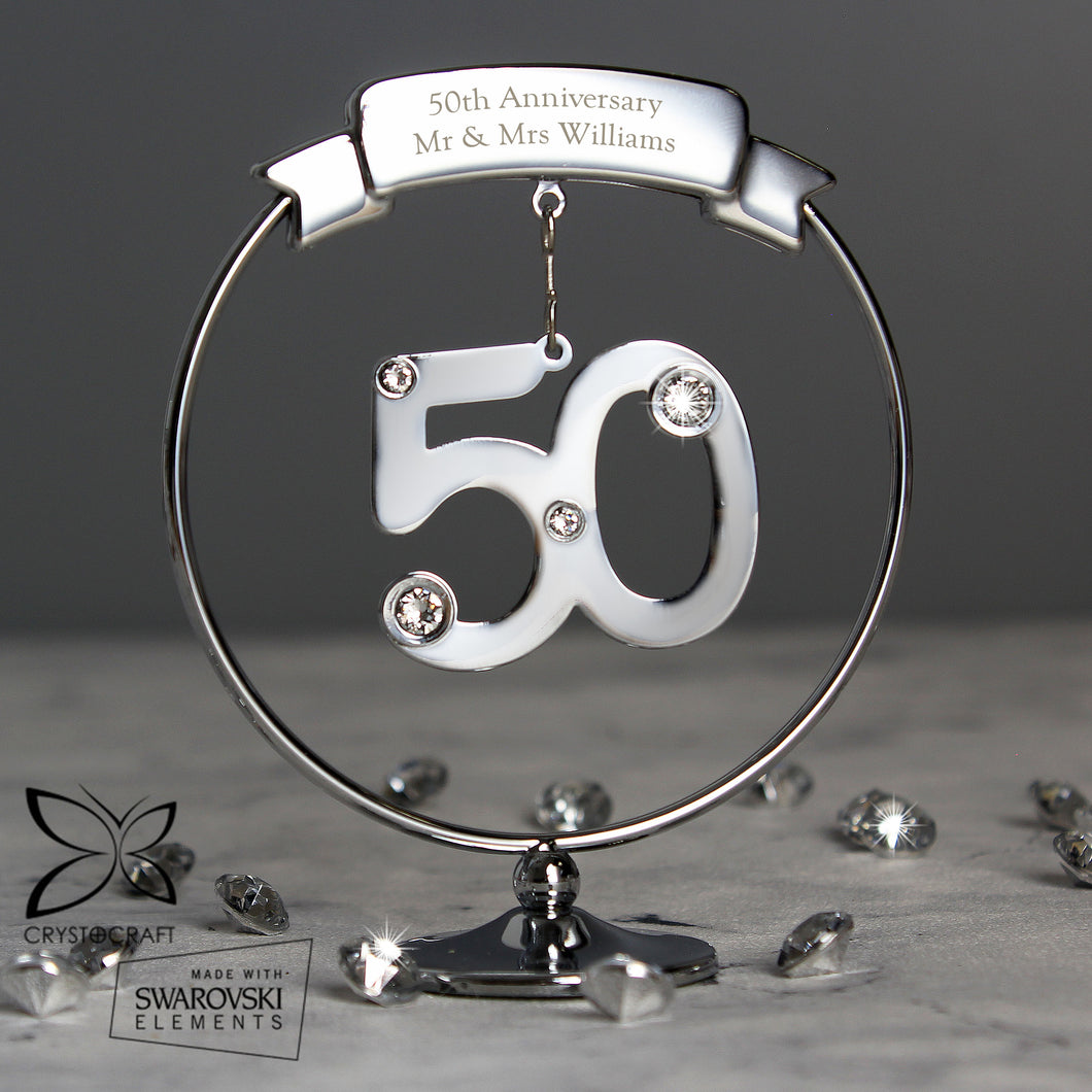 Personalised Crystocraft 50th Celebration Ornament