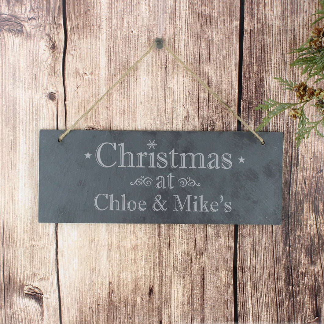 Personalised Christmas Hanging Slate Plaque