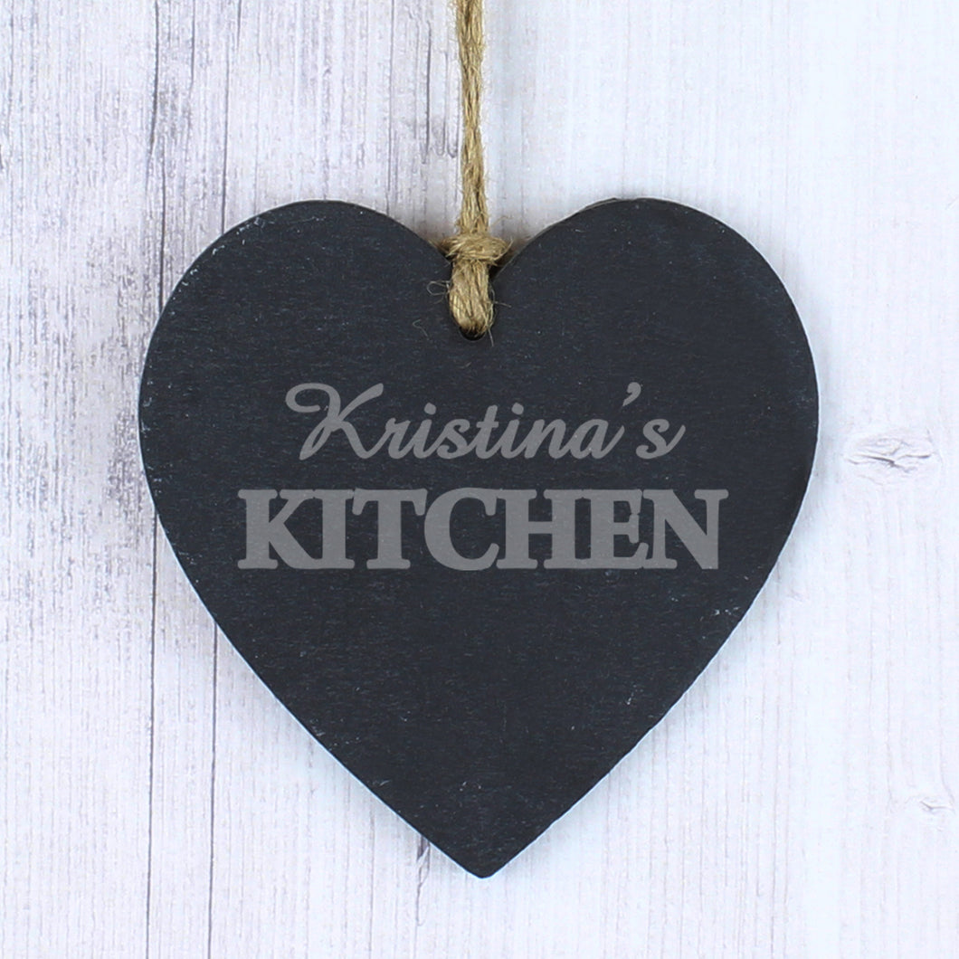 Personalised Kitchen Slate Heart Decoration
