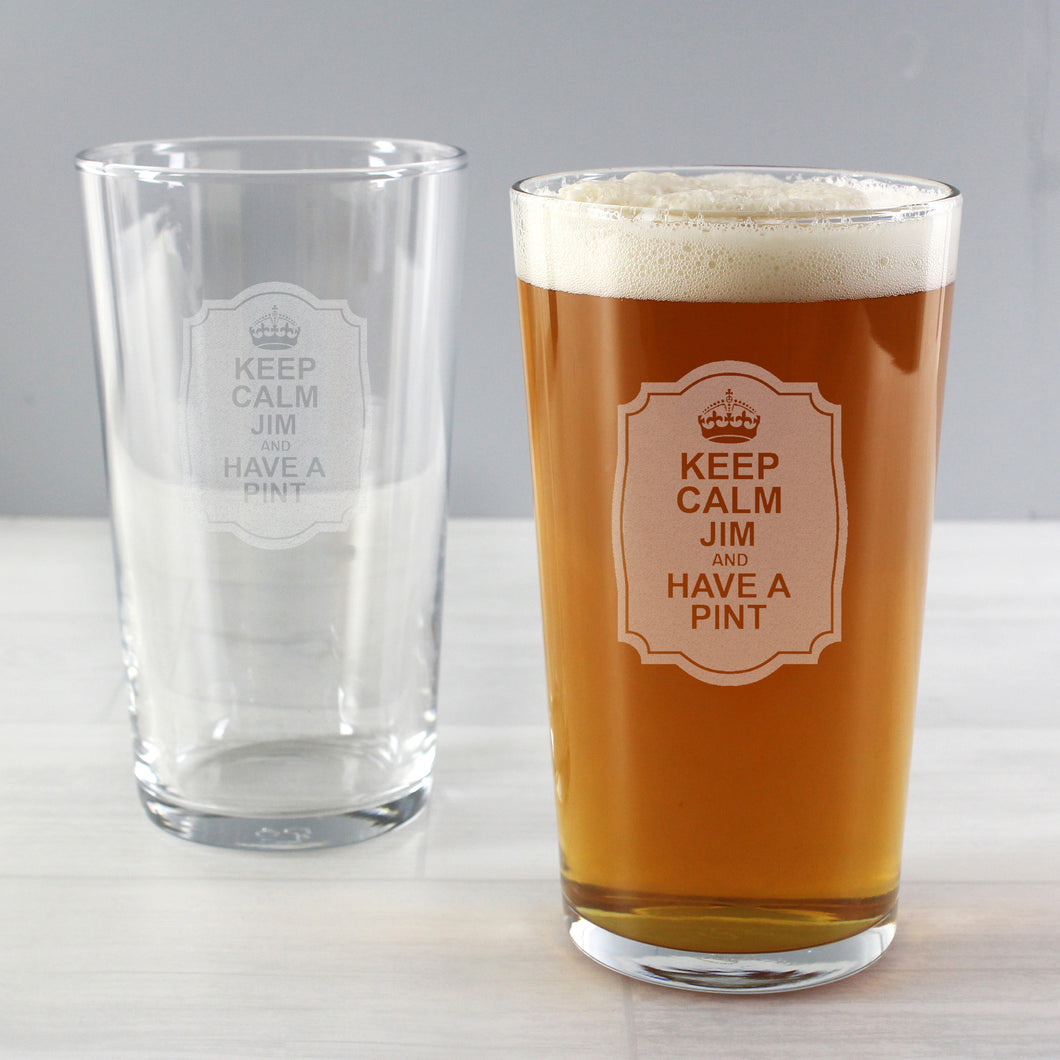 Personalised Keep Calm Pint Glass