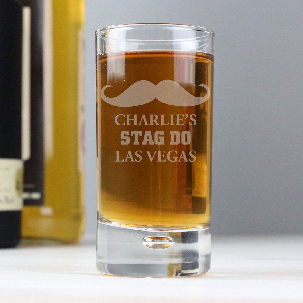 Personalised Moustache Bubble Shot Glass
