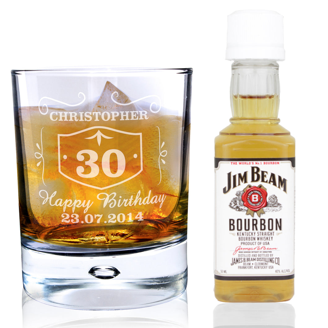 Personalised Whiskey Style Glass & Bourbon Whisky Miniature Set