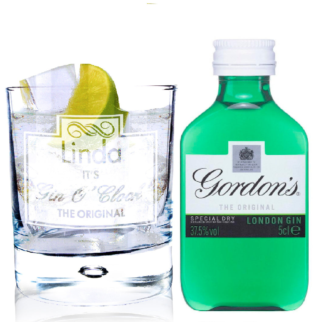 Personalised Gin OClock Glass & Gin Miniature Set