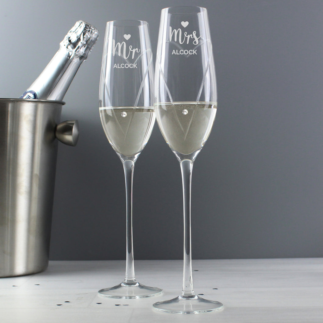 Personalised Hand Cut Mr & Mrs Pair of Flutes with Swarovski Elements in Gift Box