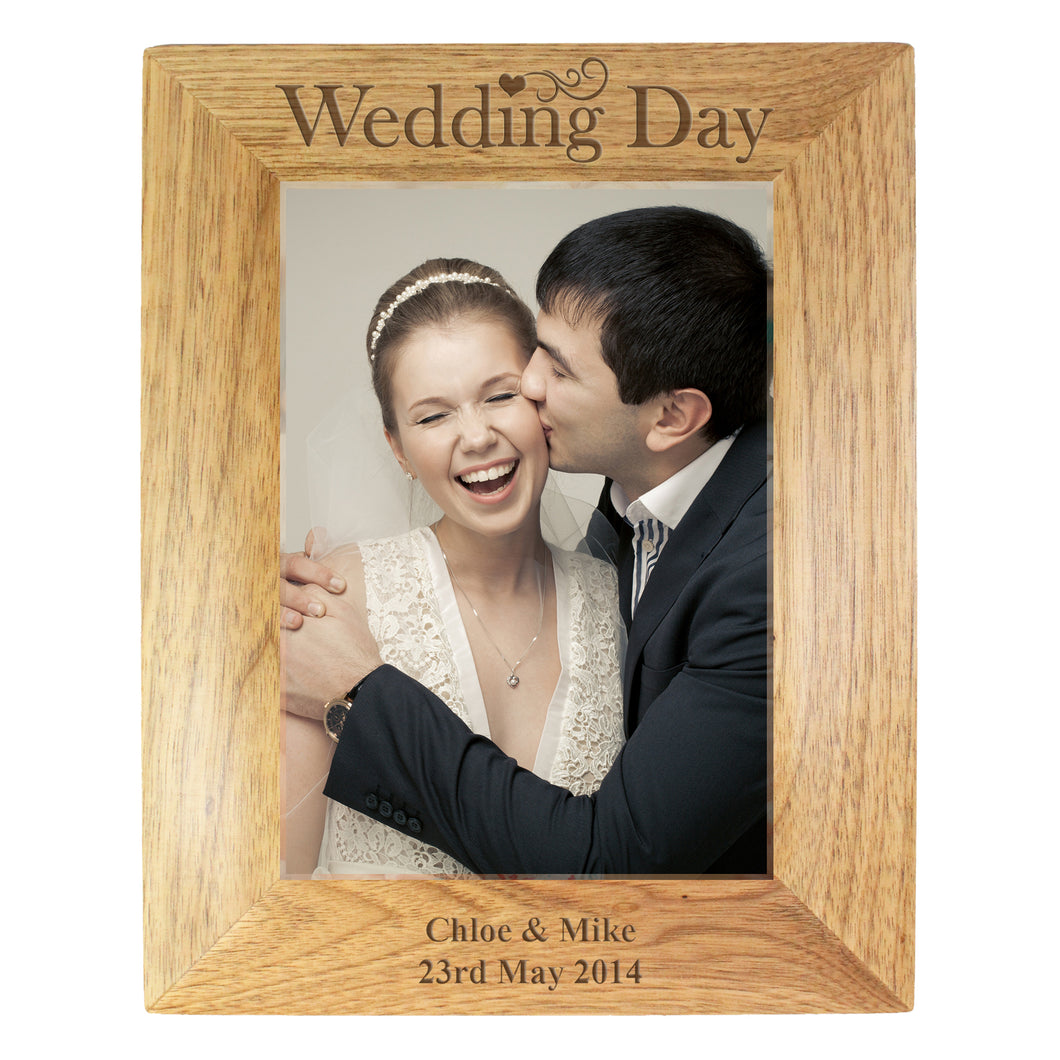 Personalised Wedding Day 7x5 Wooden Photo Frame