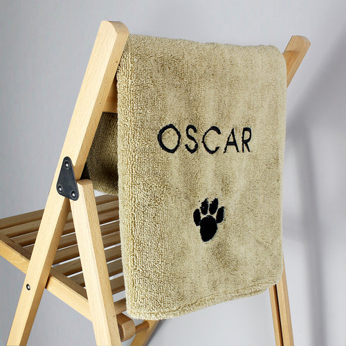 Personalised Pet Paw Brown Microfiber Towel