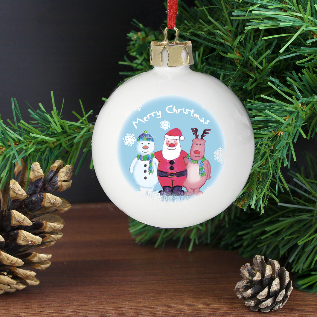 Personalised Snow Scene Trio Bauble