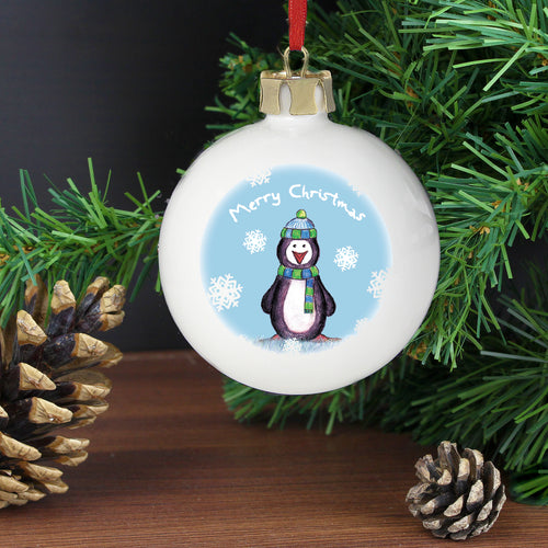 Personalised Snow Scene Penguin Bauble