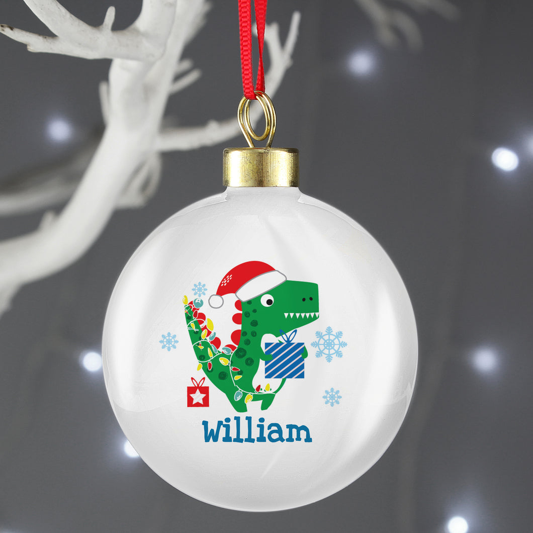 Personalised Dinosaur 'Have a Roarsome Christmas' Bauble