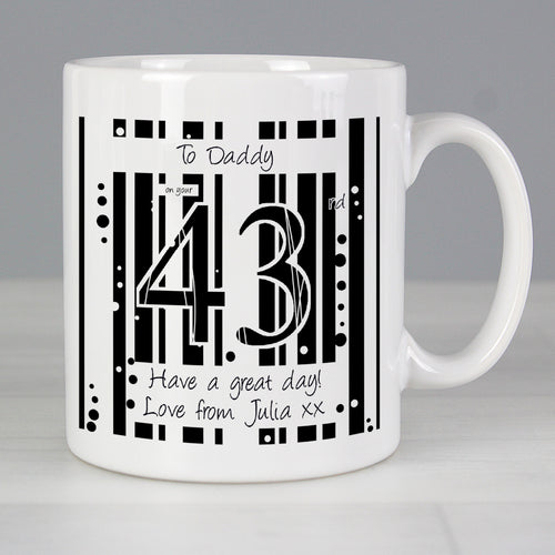 Personalised Black & White Happy Birthday Mug