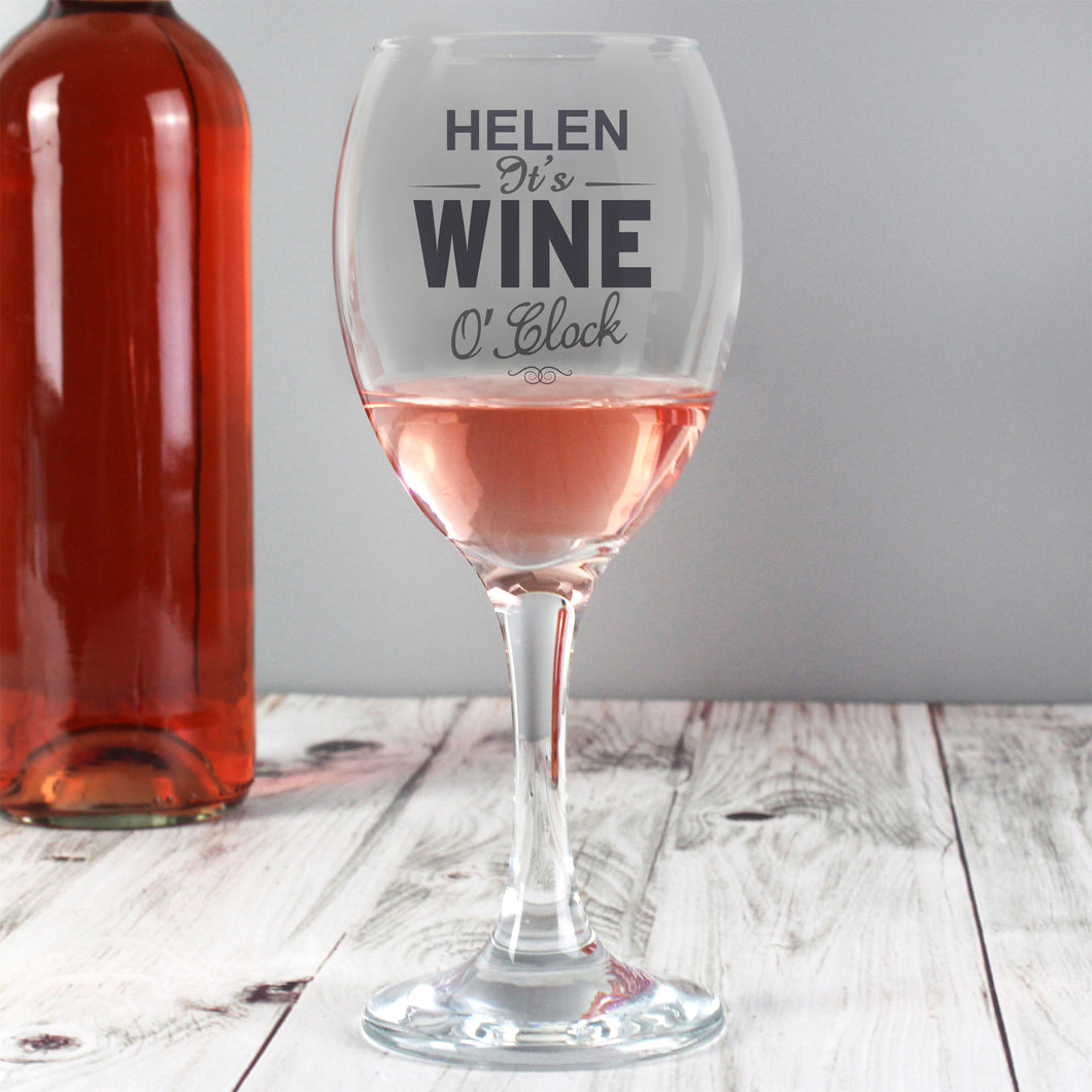 Personalised Wine O'Clock Wine Glass