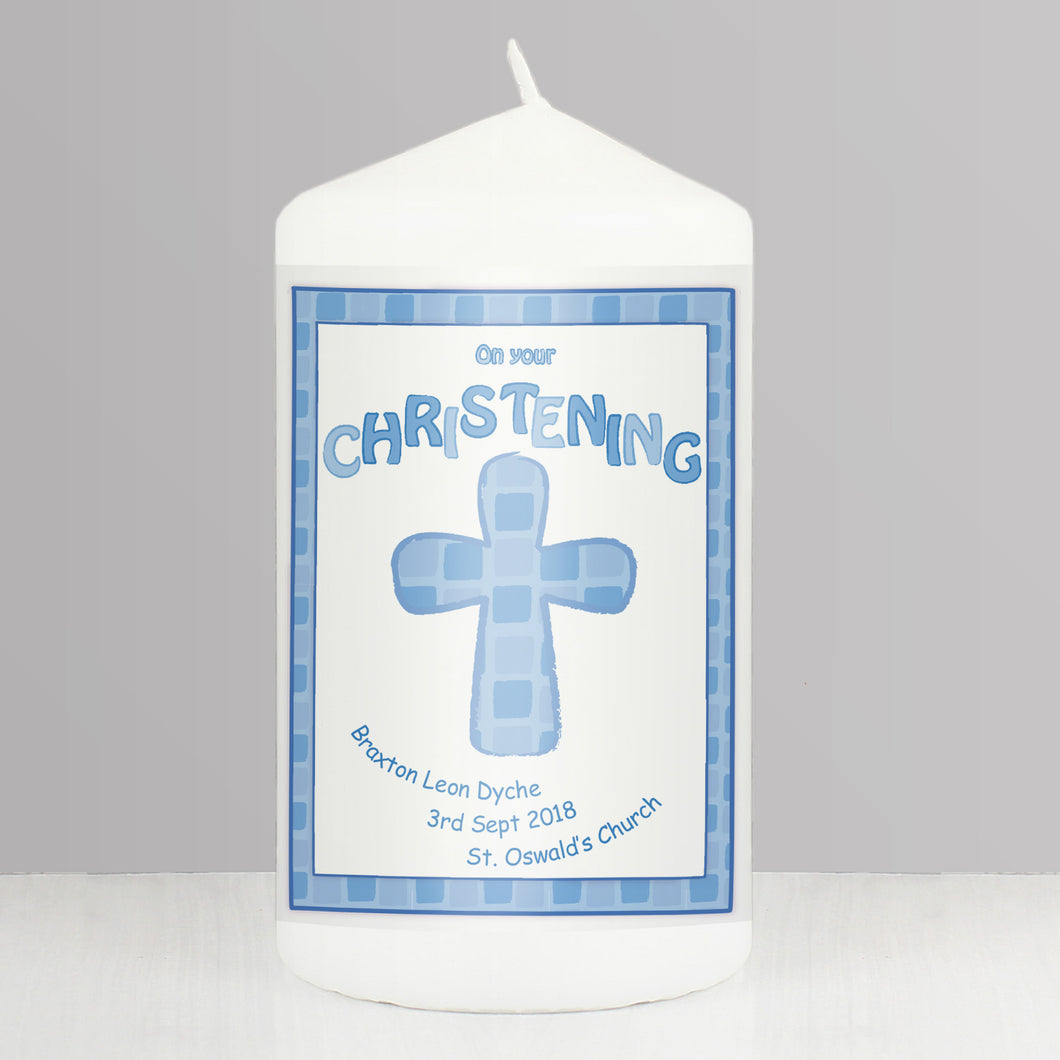 Personalised Blue Christening Candle