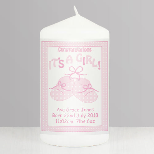 Personalised Bootee It's a Girl Candle