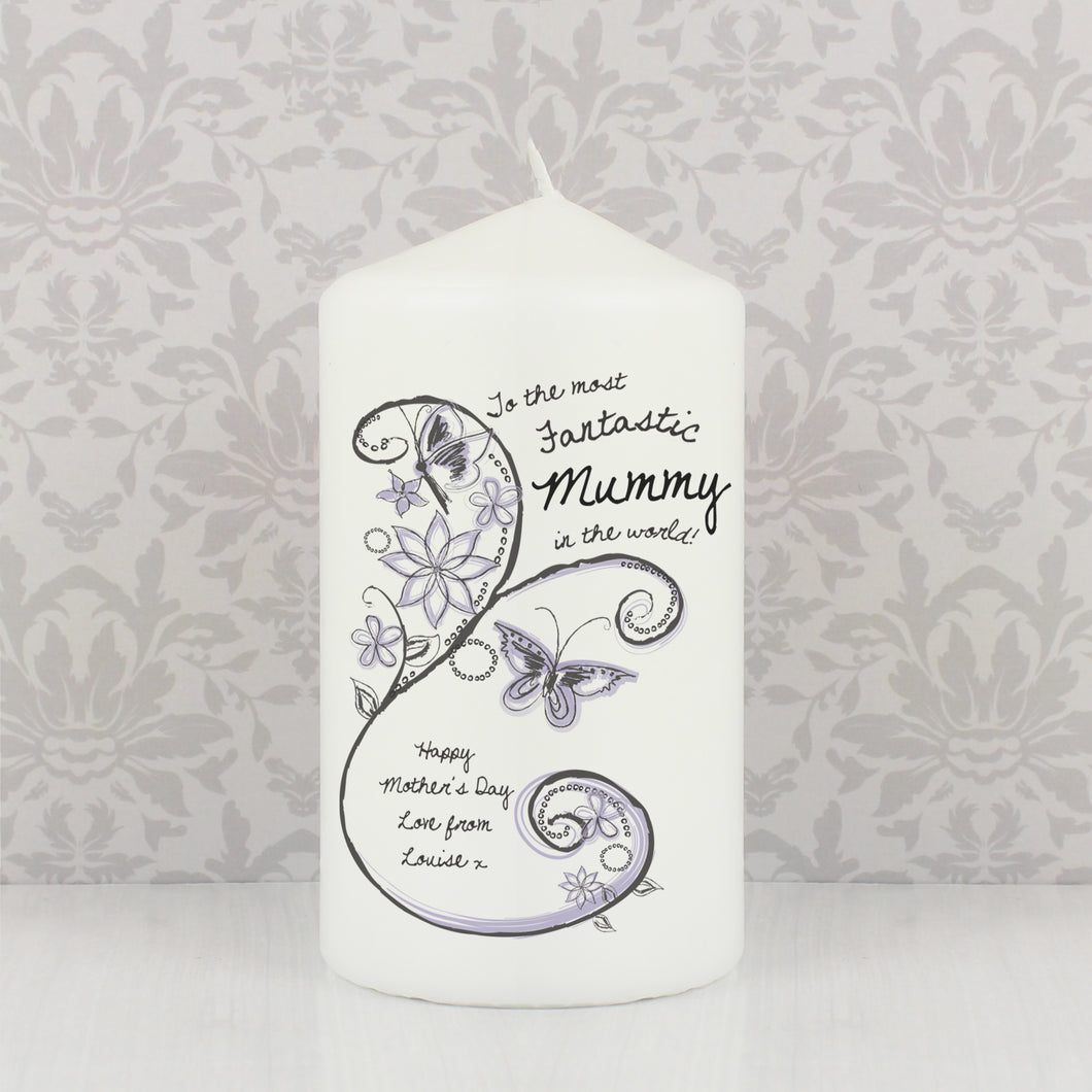 Personalised Flower Pattern Candle