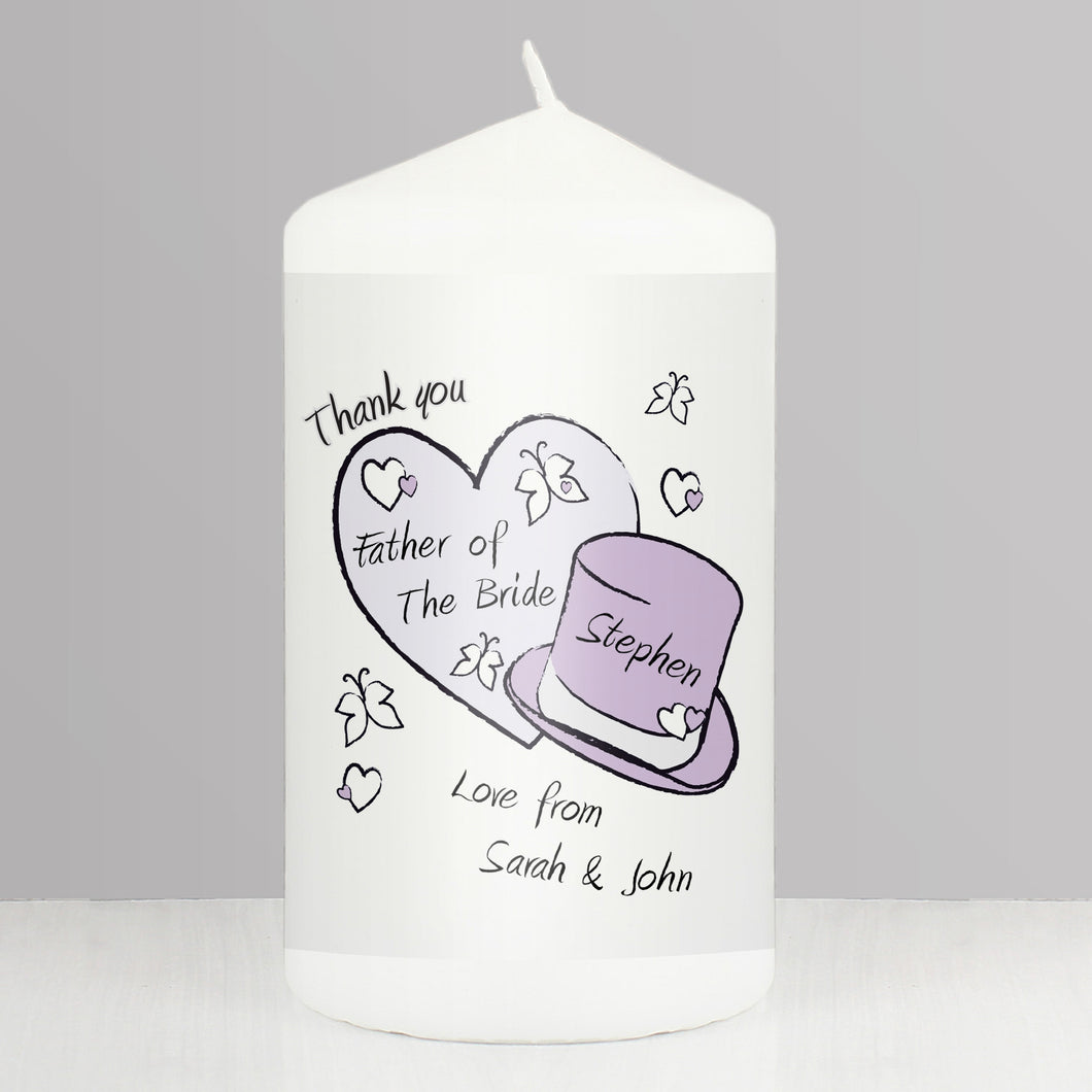 Personalised Butterfly Hats Wedding Candle