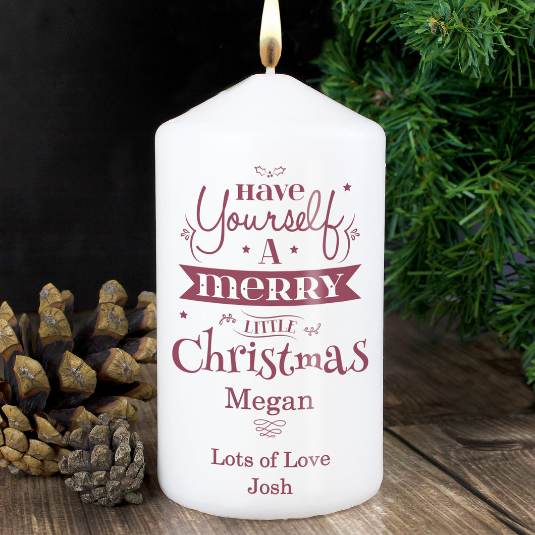 Personalised Merry Little Christmas Candle