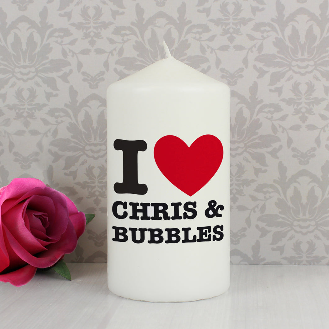 Personalised I HEART Candle