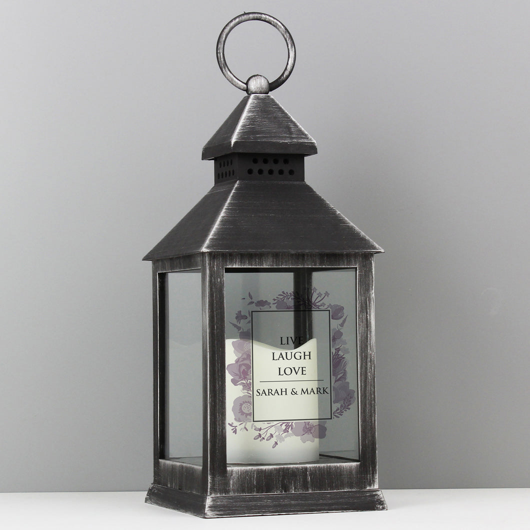 Personalised Soft Watercolour Rustic Black Lantern