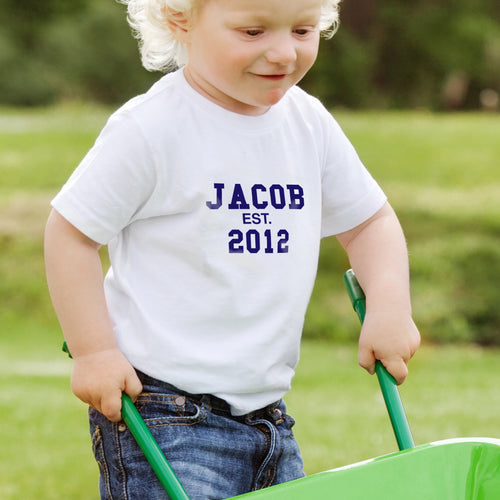 Personalised Established Blue Text Tshirt 1-2 years