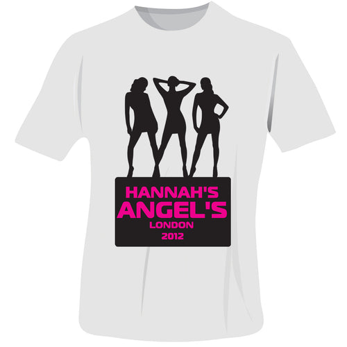 Personalised Angels Hen Do T-Shirt - White - Small