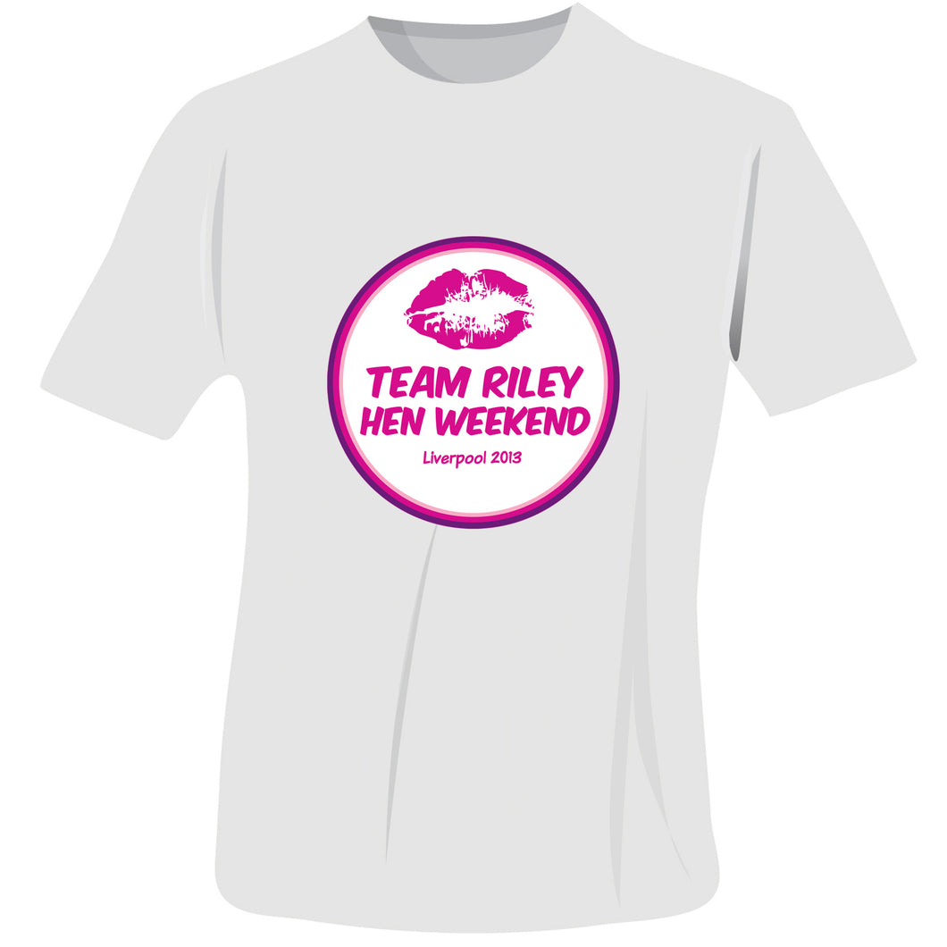 Personalised Lips Hen Do T-Shirt - White - Small