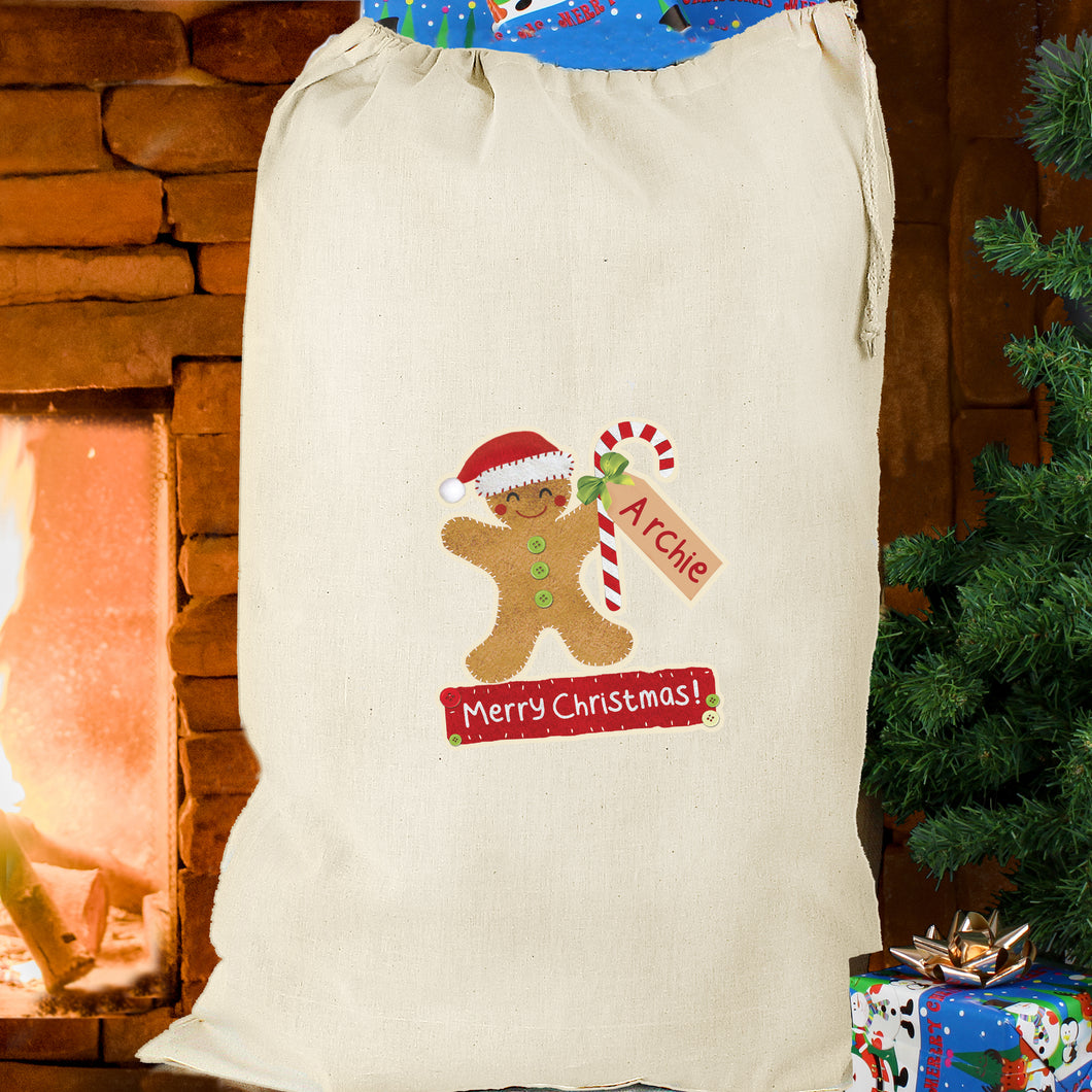 Personalised Gingerbread Man Cotton Sack